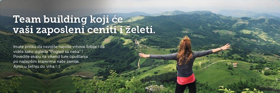 Team building koji će vaši zaposleni ceniti i želeti. Imate priliku da osvojite najviše vrhove Srbije i da vidite kako izgleda Pogled s neba! Povedite ekipu na vikend ture opuštanja po najlepšim krajevima naše zemlje. Ajmo u šetnju do vrha ! :)